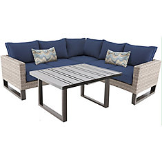 Park Heights Tan 4-Piece Wicker Outdoor Patio Sectional with Navy Cushions