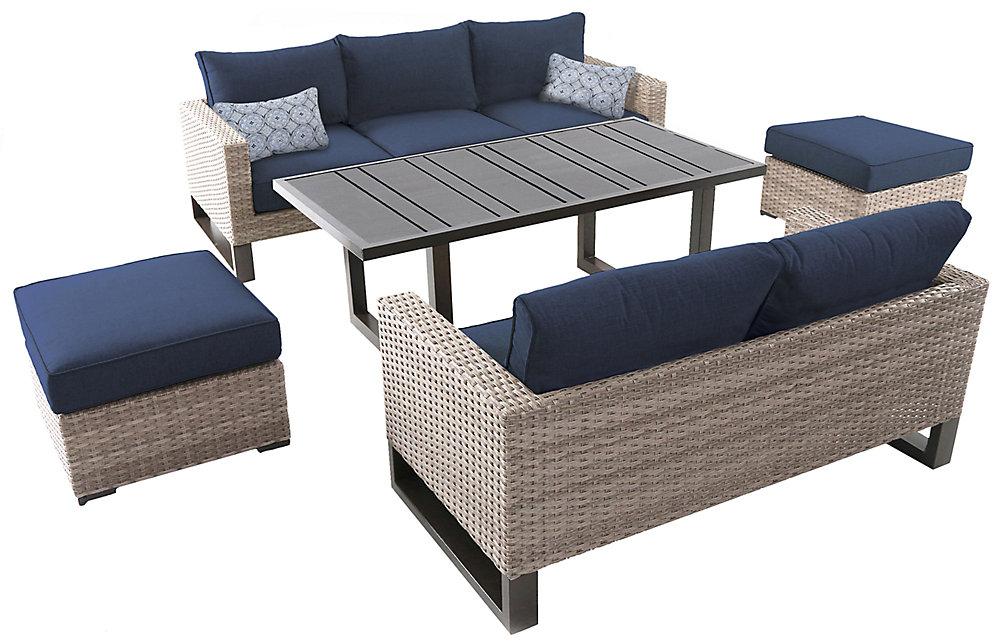 Mobilier de jardin Park Heights tressé, 5pièces, sièges profonds, table et coussins bleu marine