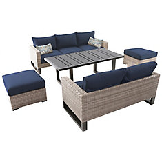 Park Heights 5-Piece Wicker Outdoor Patio Deep Seating Set with Chow Height Table and Navy Cushions