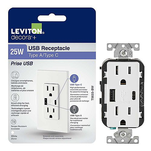 Leviton Decora USB Charger Tamper-Resistant 15A Receptacle 5.1A Type A/Type-C (Wallplate not included)