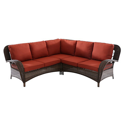 Beacon Park Wicker Outdoor 3-Piece Sectional Set -Orange Cushions