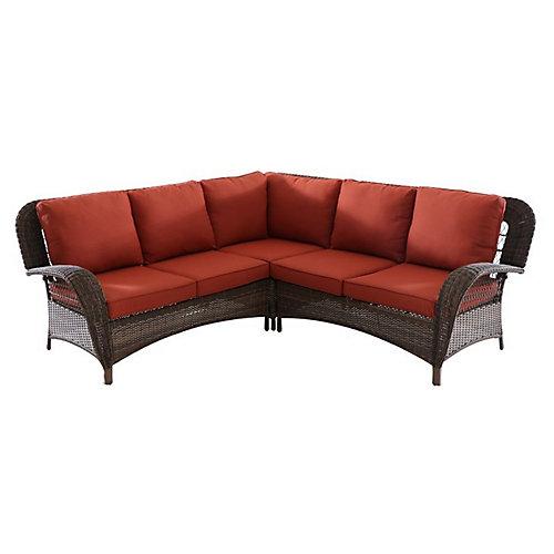 Beacon Park Wicker Outdoor 3-Piece Sectional Set -Orange Cushions