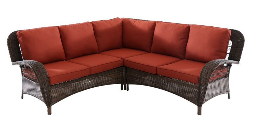 Hampton Bay Beacon Park Wicker Outdoor 3-Piece Sectional Set -Orange Cushions