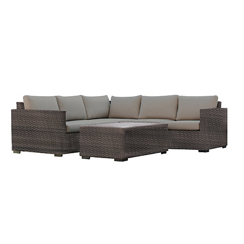 Palmetto 4-Piece All Weather Wicker Patio Sectional Set with Grey Cushions