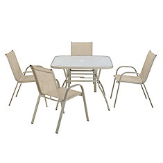 5-Piece Sling Steel Patio Dining Set in Tan