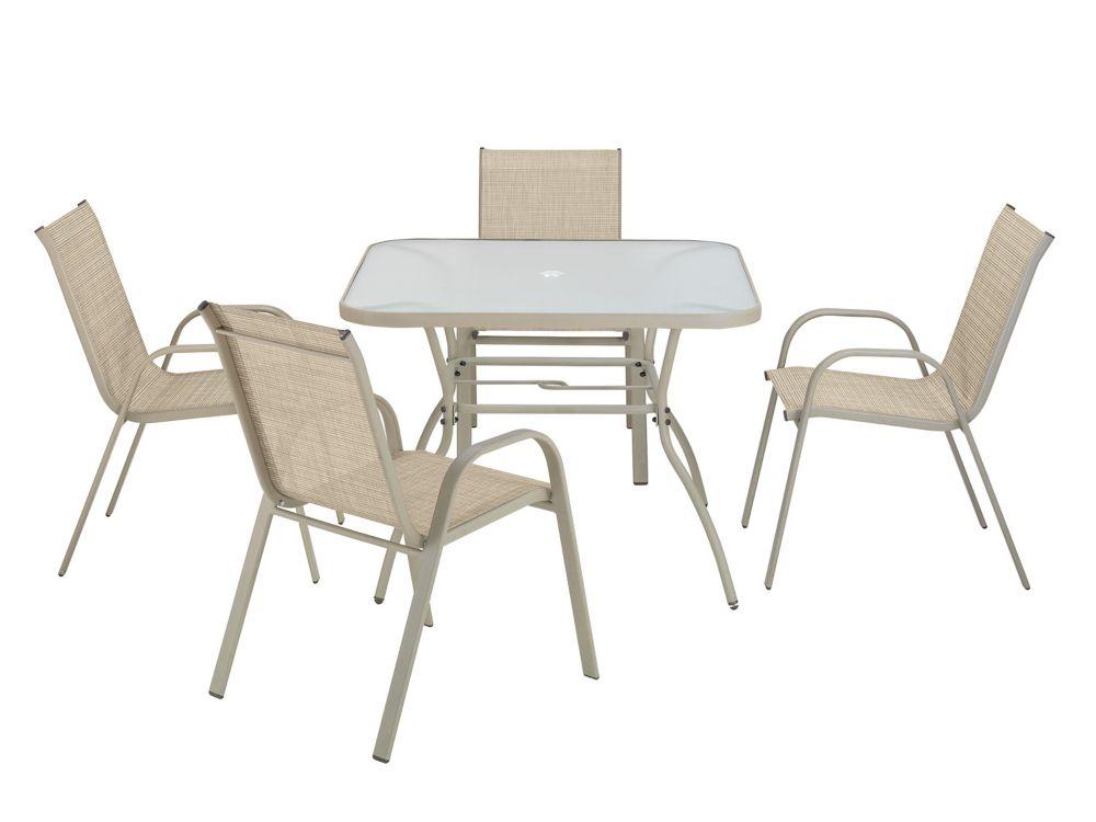 5-Piece  Sling Outdoor Steel Dining Set, Tan