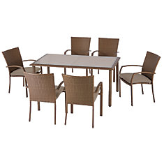 Delaronde Light Brown 7-Piece Wicker Patio Dining Set with Tan Seat Pad