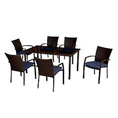 Ensemble à dîner de 7 pièces en osier brun foncé de Delaronde avec coussin de siège bleu marine