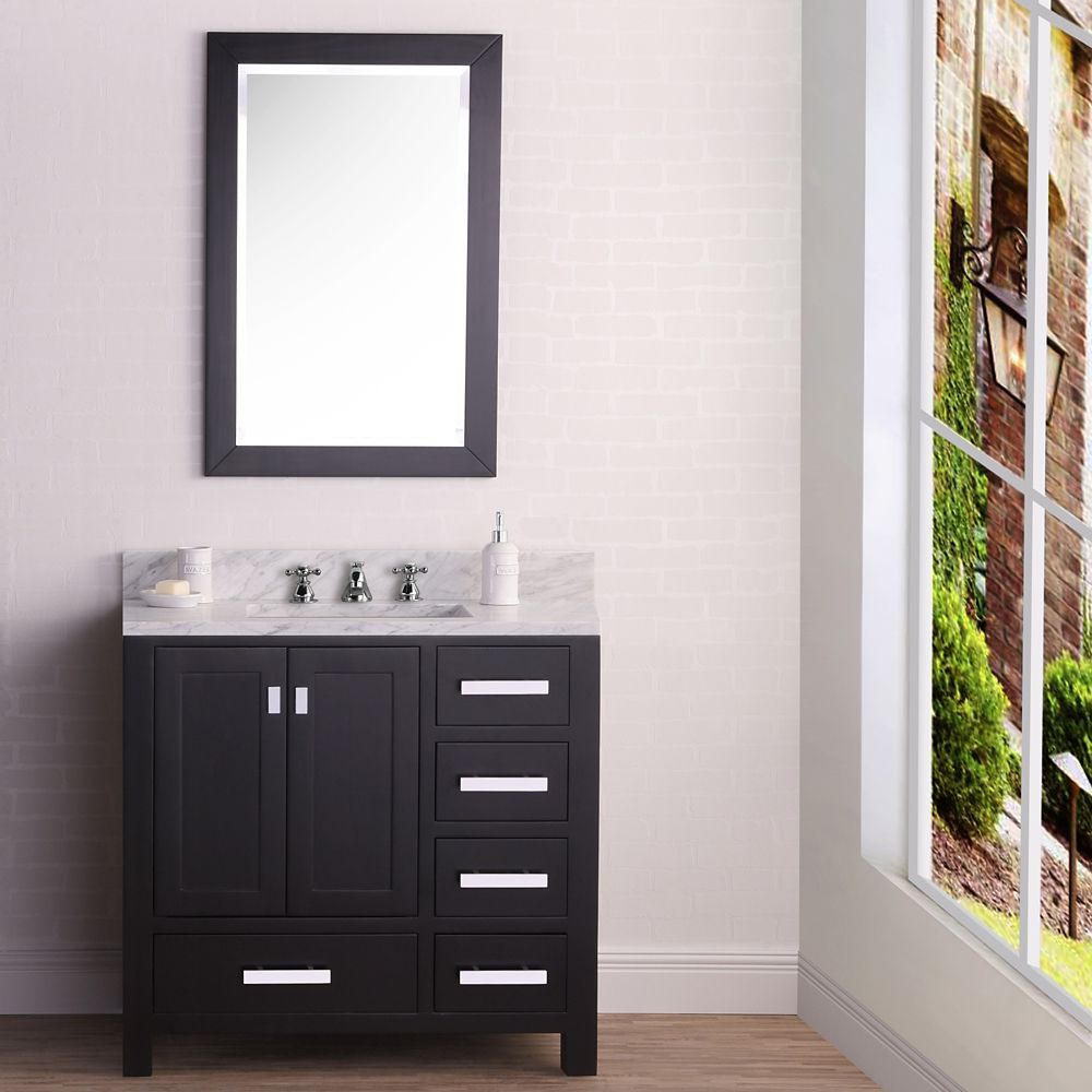 Water Creation Madison 36-inch W Vanity in Espresso with Marble Top in Carrara White and Matching Mirror