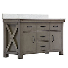 Aberdeen 60-inch W Vanity in Grizzle Grey with Marble Top in Carrara White