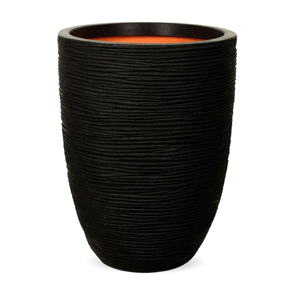 Home Decorators Collection Vase elegant low rib NL 13.4x13.4x18.1 inch Black