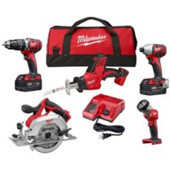 Milwaukee Tool M18 18V Lithium-Ion Cordless Combo Tool Kit (5-Tool) with (2) 3.0Ah Batteries, (1) Charger & (1) Tool Bag