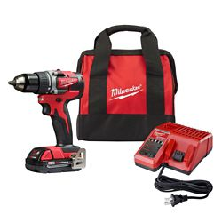 Milwaukee Tool M18 18V Lithium-Ion Compact Brushless Cordless 1/2-Inch Drill/Driver Kit W/ (1) 2.0 Ah Battery