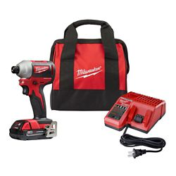 Milwaukee Tool M18 18V Lithium-Ion Compact Brushless Cordless 1/4-Inch Impact Driver Kit W/ (1) 2.0 Ah Battery