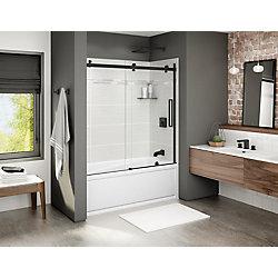 MAAX Halo 56 1/2-59 po x 59 po porte de baignoire coulissante sans cadre en noire mat