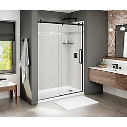 MAAX Porte de douche coulissante Halo, 56,5po à 59po x 78,75po, noir mat