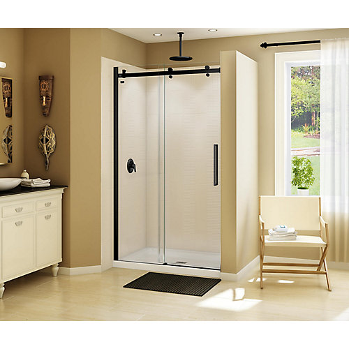 Halo 44 1/2-47 inch x 78 3/4 inch Sliding Shower Door in Matte Black
