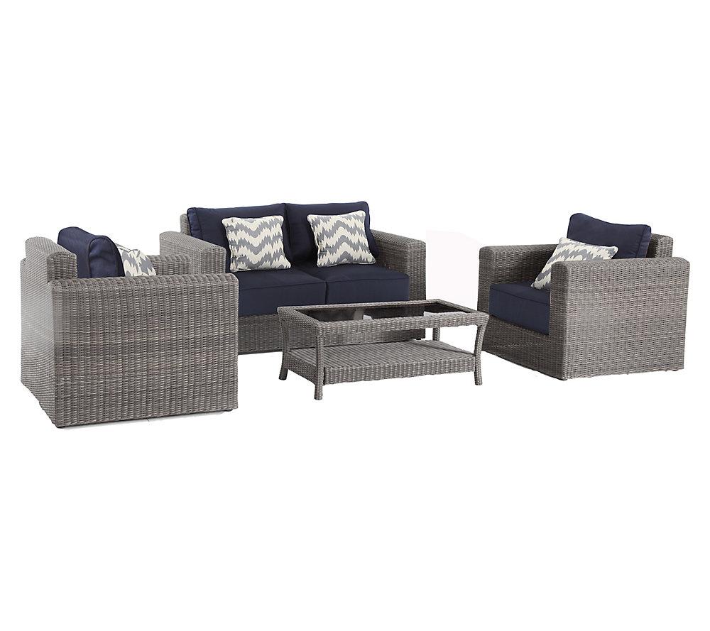 Mobilier de jardin Naples tressé gris, 4 pièces, sièges profonds et  coussins bleu marine