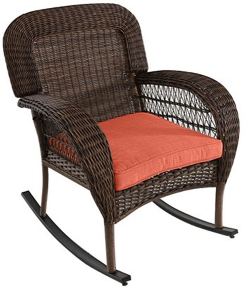 Beacon Park Wicker Patio Dining Rocking Chair with Orange Cushion