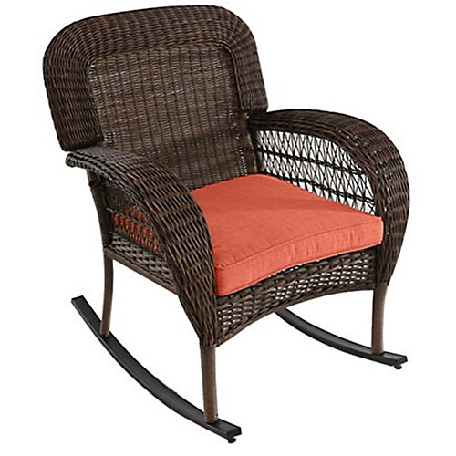 Beacon Park Wicker Outdoor Dining Rocking Chair Orange Cushion