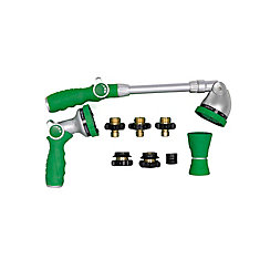8-Piece 6-Spray Metal Hose Nozzle and Wand Quick Connect Kit