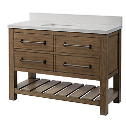 Home Decorators Collection Castlewell Collection 48-inch Vanity in Grey Oak with White Stone Top