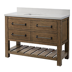 Castlewell Collection 48-inch Vanity in Grey Oak with White Stone Top