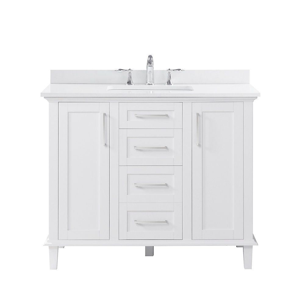 Ove decors alma 42 inch single sink vanity in white with - Best vanities for small bathrooms ...