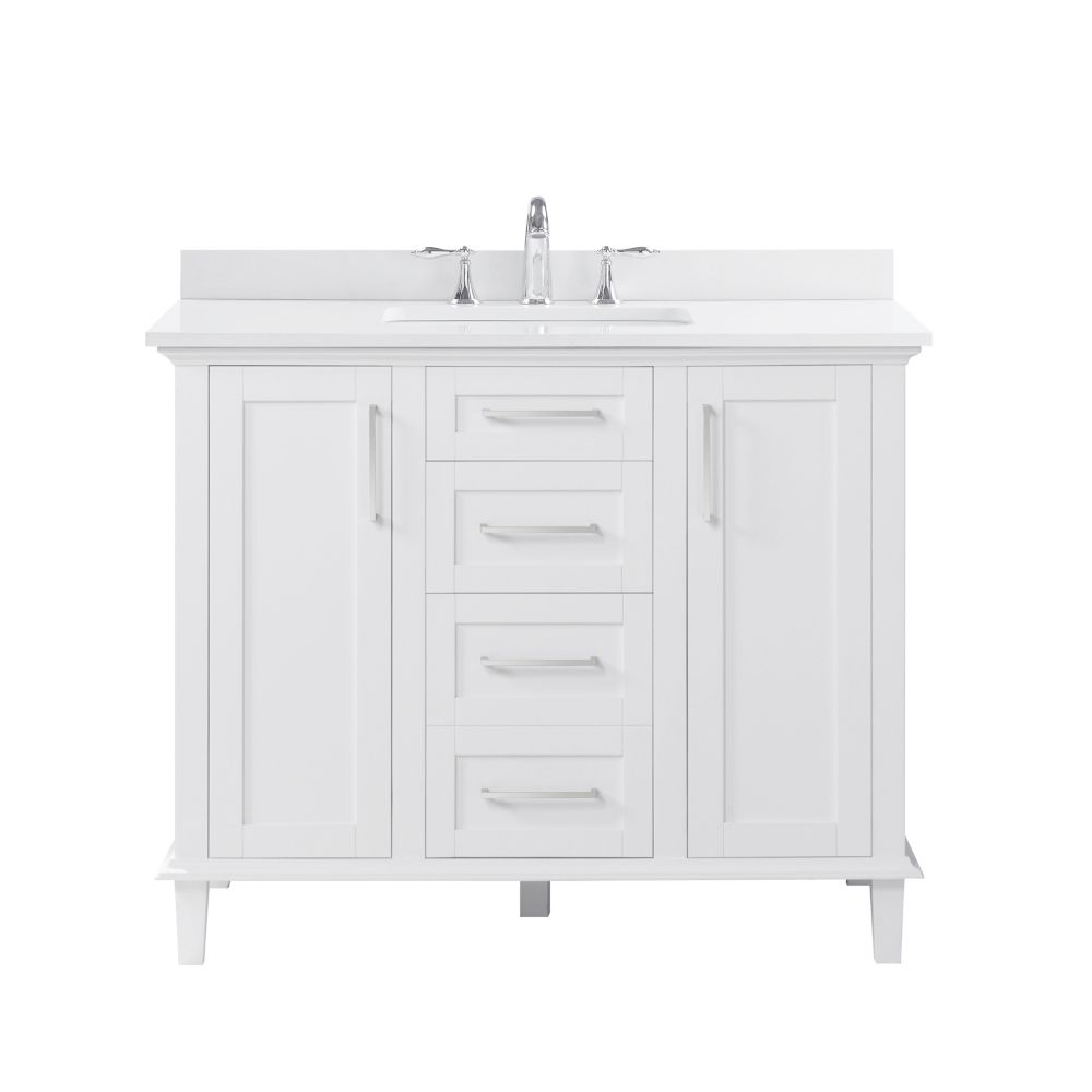 Ove Decors Alma 42-inch Single Sink Vanity in White with White Marble Top and Basin