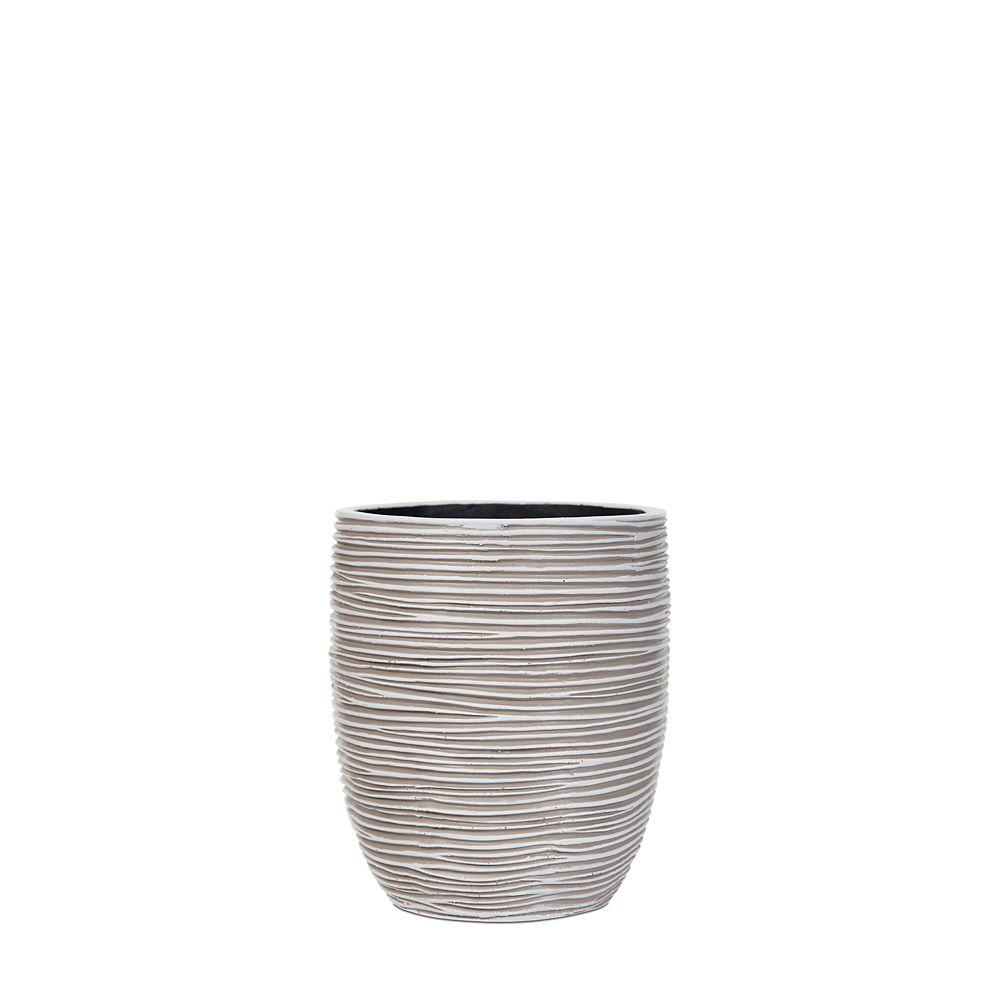 Vase elegant high II rib 7.1x7.1x8.2 inch ivory