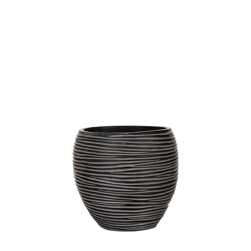 Vase elegant rib 9.8x9.8x9.8 inch black