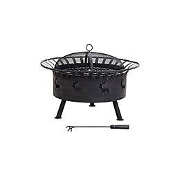 Sunjoy 32 inch Round Steel Fire Pit - Elk