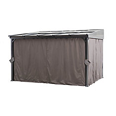 12x10 Polycarbonate Top Awning Gazebo With Curtain and Netting