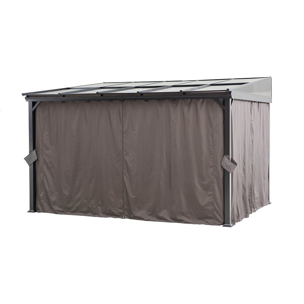 Sunjoy 12x10 Polycarbonate Top Awning Gazebo With Curtain and Netting