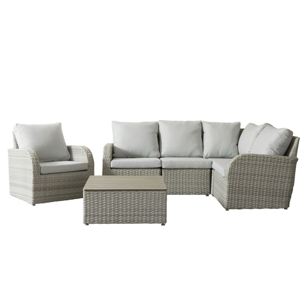 Corliving Brisbane Weather Resistant Resin Wicker 6-Piece Curved Sectional Patio Set with Grey Cushion