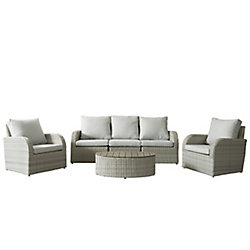 Corliving Brisbane Weather Resistant Resin Wicker 6-Piece Loveseat/Chair Patio Set with Grey Cushion