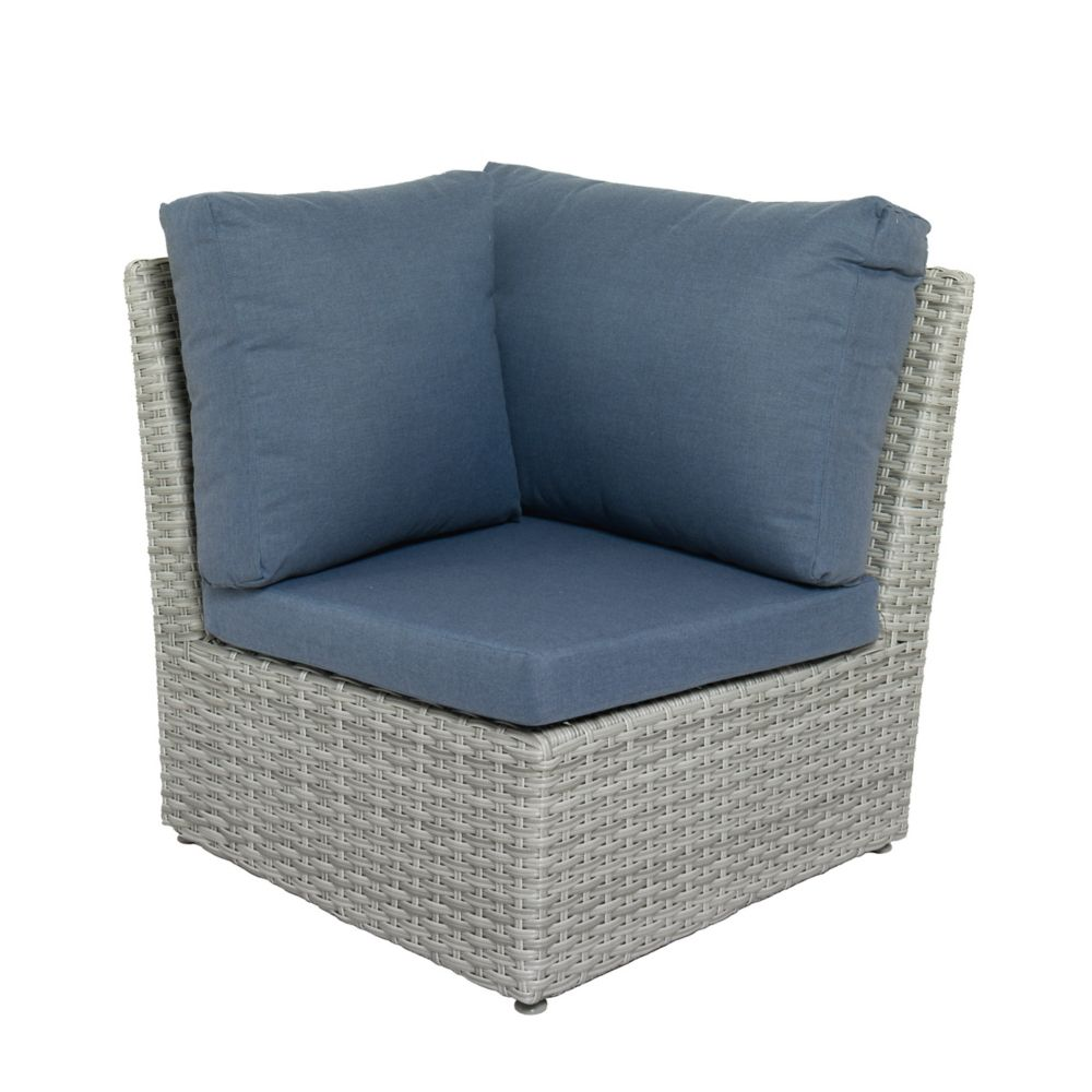 Corliving Brisbane Weather Resistant Resin Wicker Corner Patio Chair with Blue Cushion