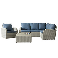 Brisbane Weather Resistant Resin Wicker 6-Piece Curved Sectional Patio Set with Blue Cushion
