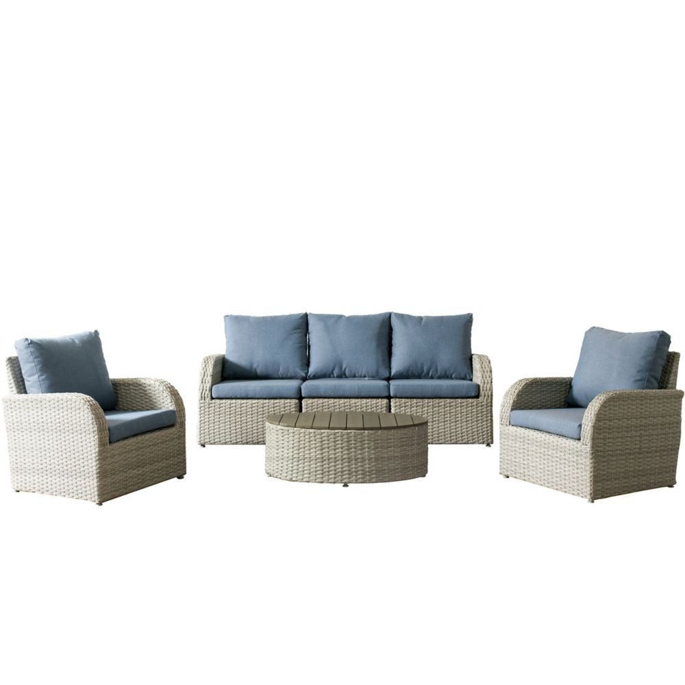 Corliving Brisbane Weather Resistant Resin Wicker 6-Piece Loveseat/Chair Patio Set with Blue Cushion