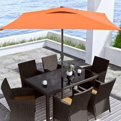 Corliving 9 ft. Square Tilting Orange Patio Umbrella