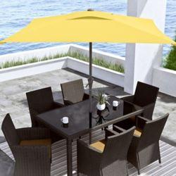 Corliving 9 ft. Square Tilting Yellow Patio Umbrella