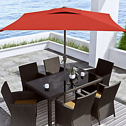 Corliving 9 ft. Square Tilting Crimson Red Patio Umbrella