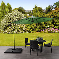 Corliving 9.5 ft. UV Resistant Offset Forest Green Patio Umbrella