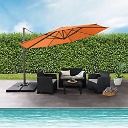 Corliving 11.5 ft. UV Resistant Deluxe Offset Orange Patio Umbrella