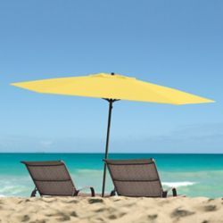 Corliving 7.5 ft. UV and Wind Resistant Yellow Beach/Patio Umbrella