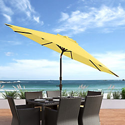 Corliving 10 ft. UV and Wind Resistant Tilting Yellow Patio Umbrella