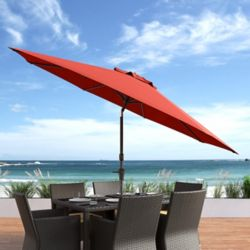 Corliving 10 ft. UV and Wind Resistant Tilting Crimson Red Patio Umbrella
