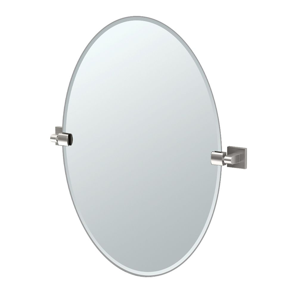 Gatco Elevate 26 1/2 inch H Frameless Oval Mirror Satin Nickel