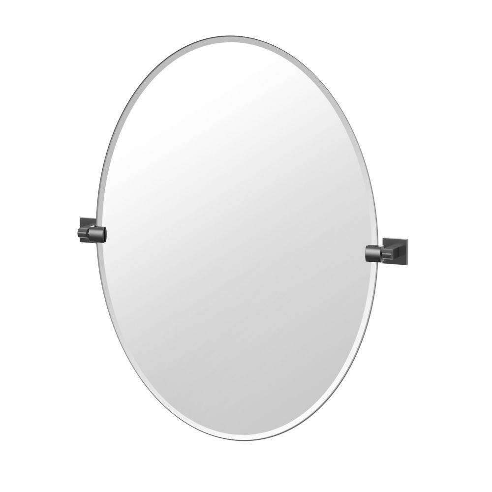 Gatco Elevate 32 inch H Frameless Oval Mirror Matte Black