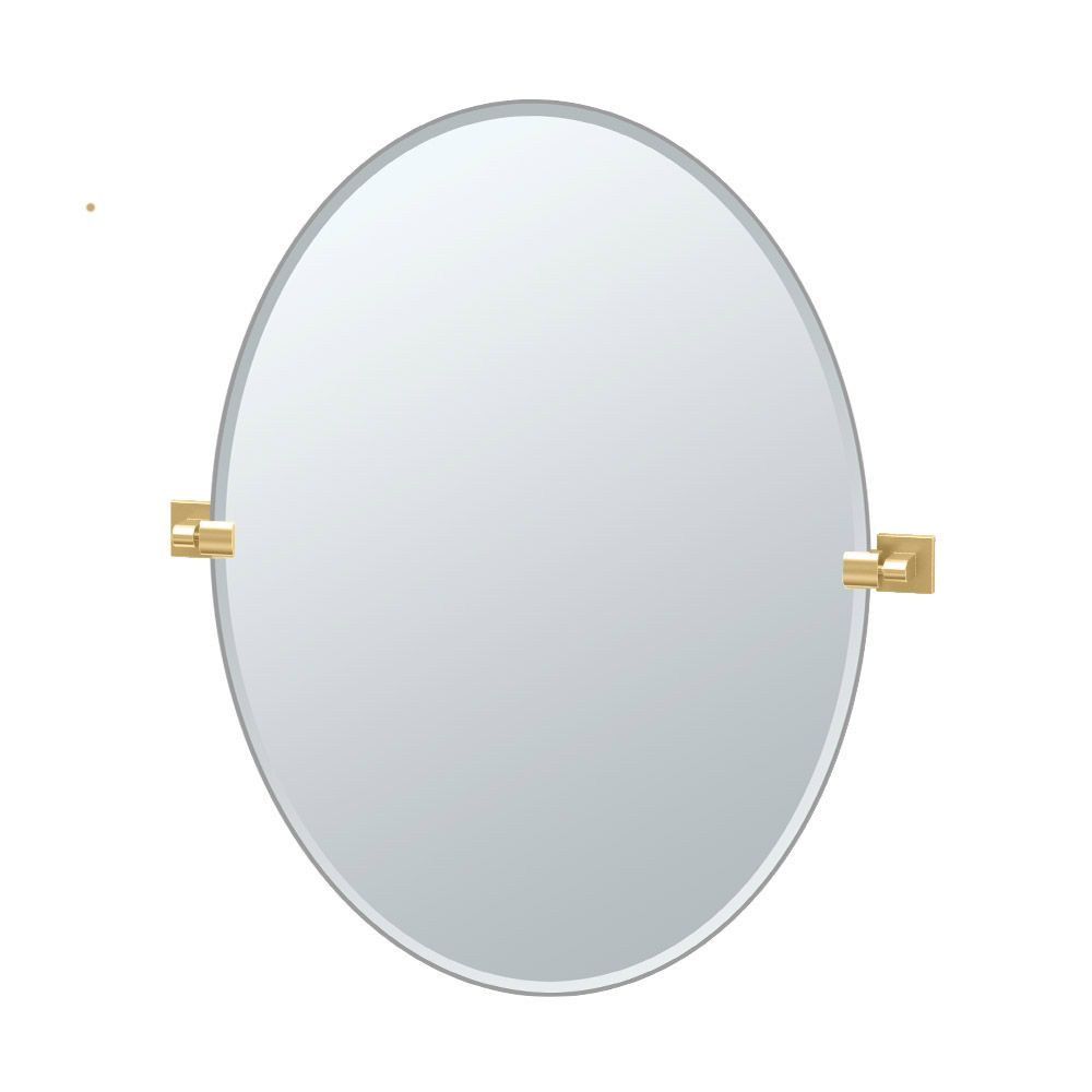 Gatco Elevate 32 inch H Frameless Oval Mirror Brushed Brass